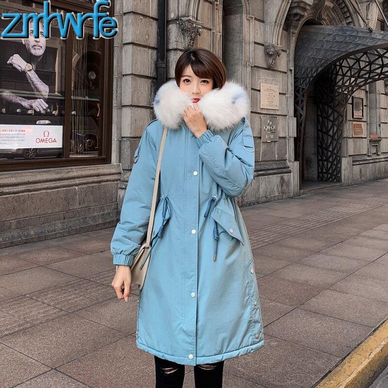 Large Fur Collar Jacket Coat Women Winter 2019 New Wniter Women   Parka   Long Slim Thickening Warm Pakras Female Wadded Jacket