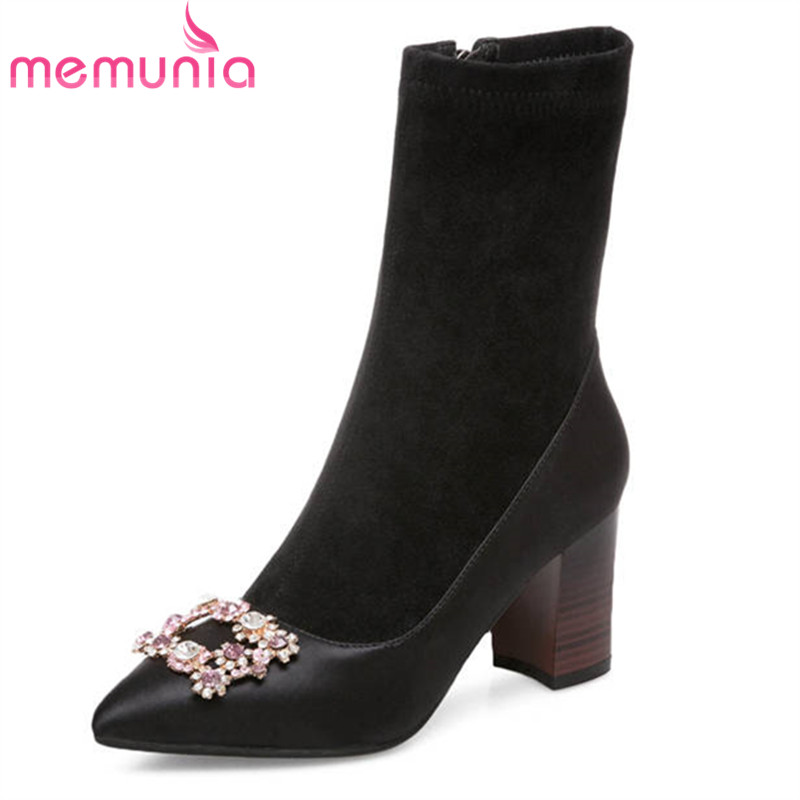MEMUNIA 2020 new arrival ankle boots for women pointed toe zipper fashion high heels boots crystal spring autumn shoes woman
