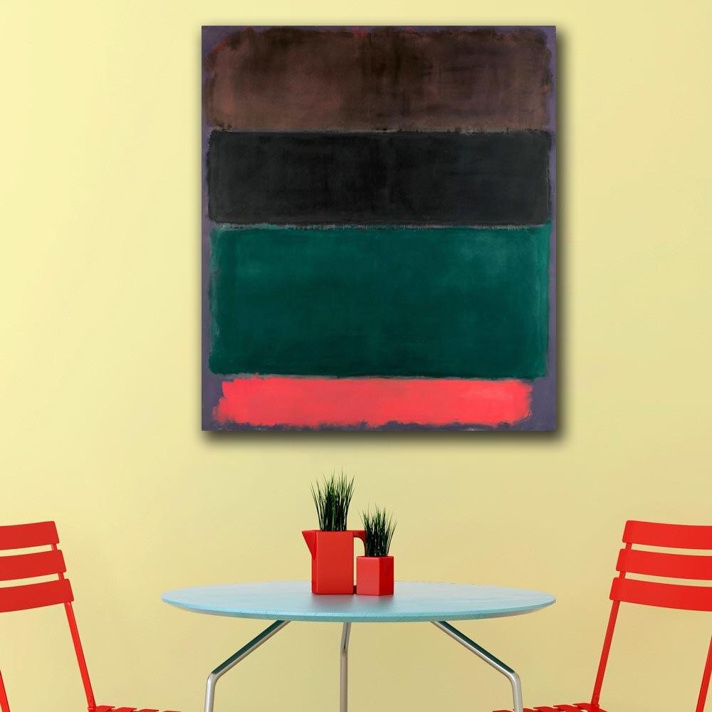 Cuadros de pared para sala de estar abstractos Mark Rothko (rojo-marrón, negro, verde, rojo) lienzo de decoración del hogar pintura al óleo moderna