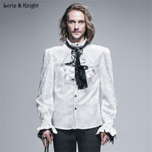 Gentleman Baroque Print Stand Collar Long Sleeve Vintage Victorian Shirt with Jabot WHITE SHT01002