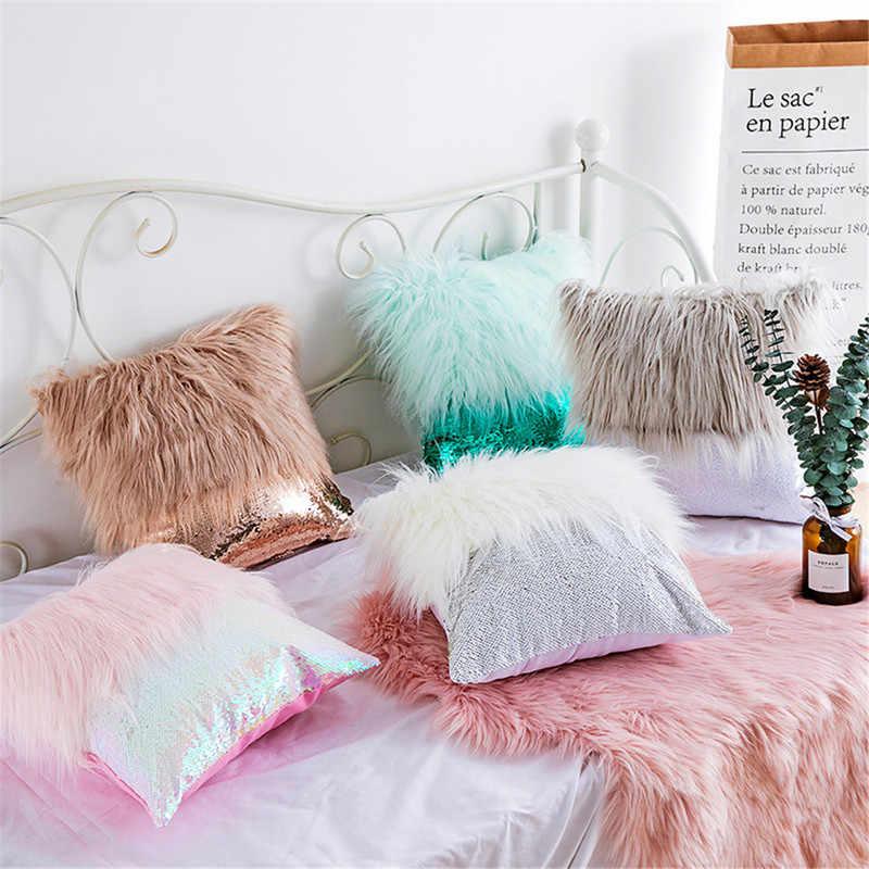 long fur plush fluffy sequin cushion cover fish scale glitters pillowcase living room sofa plush throw pillow cover home decor