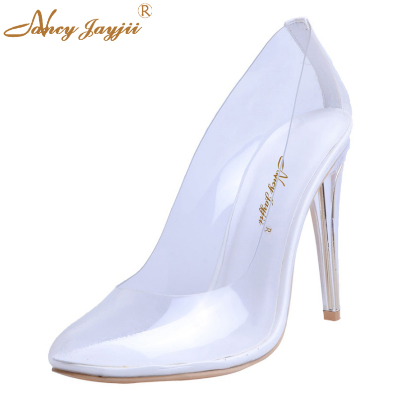 2017 Kim Kardashian Summer/Autumn Sexy Women Pumps Silver Clear Heel High 10CM Princess Cinderella Glass PVC Wedding Party Shoes romyed bridals wedding shoes kim kardashian pumps superstar shoes top quality flowers evening christian shoes size 4 16 shofoo
