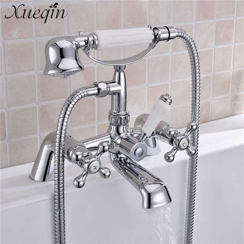 Xueqin Vintage Telephone Style Bathroom Bathtub Rainfall Shower Brass Showerhead Sets Deck Mounted Hot/Cold Water Faucet Mixer xueqin countryside style bathroom shower head water saving all copper hand held bath showerhead faucet spray