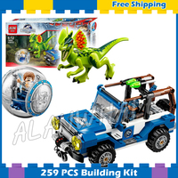 259Pcs Jurassic World Dino Dilophosaurus Ambush Truck 79093 Model 3D Building Blocks dinosaur Gifts sets Compatible With Lego