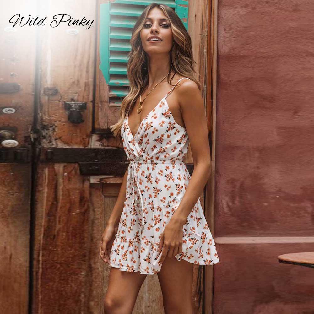 WildPinky Boho Casual Spaghetti Strap Tie Up Curto Mini Mulheres Vestido de Verão da Cópia Floral Do Vintage Vestidos Femininos Vestidos de Férias