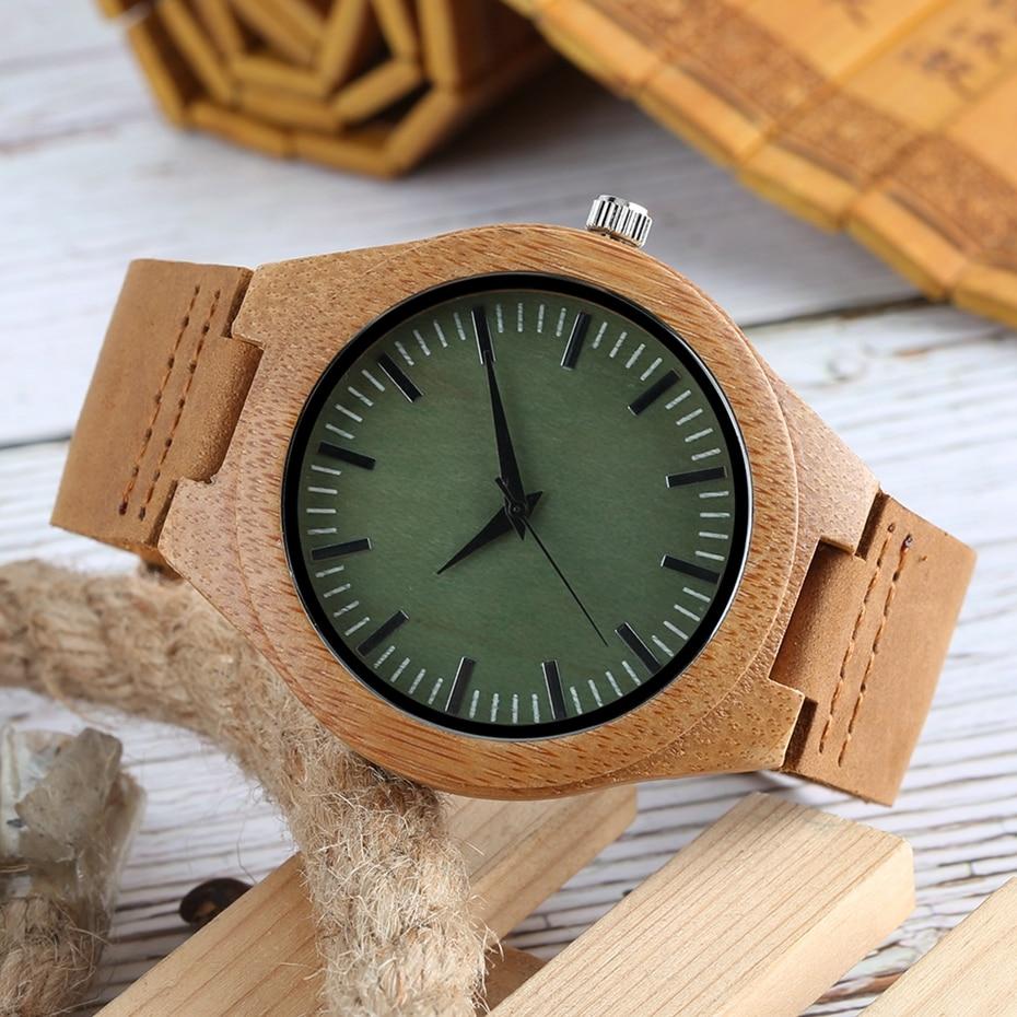 Men Wooden Watches Retro Ebony Wood Case Green Dial Handmade Engraved Scale Casual Military Sports Clock Man Quartz Wrist Watch 2020 2019 2018 (7)