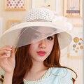Estilo nueva moda del verano flojo de la playa sombreros para mujer grande ocasionales sombreros de paja de ala para mujeres de viaje de vacaciones Suncreen sombra sombreros de Sun