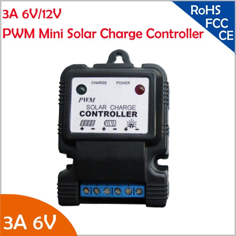 3A 6V or 12V PWM Mini Solar Charge Controller Regulator for 20-40W Garden Light,1-15 Hours Adjustment,Automatically Identify 12V 20a solar controller 12v24v light control time automatically identify street charge