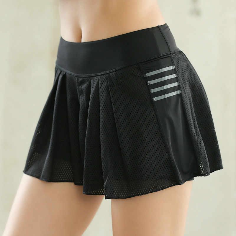 Sommer Frauen Yoga Kleidung Gefälschte Zwei Stück Rock Atmungsaktiv Stretch Tennis Läuft Schnell Trocken Anti-licht Skorts Badminton Shorts