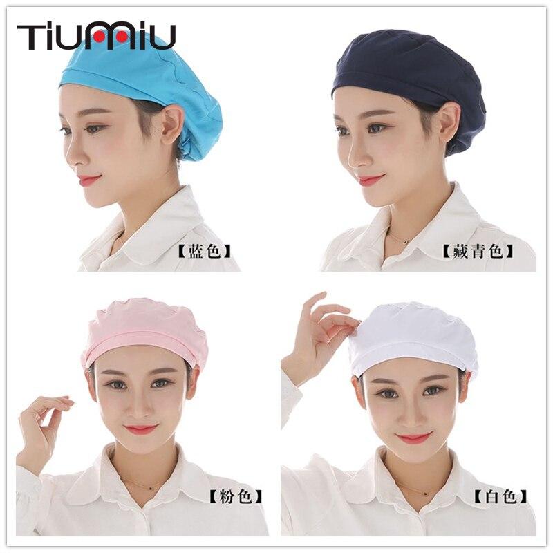Unisex Elastic Caps Kitchen Restaurant Bakery Waiter Chef Work Wear Hats Men Women Breathable Factory Warehouse Workshop Caps