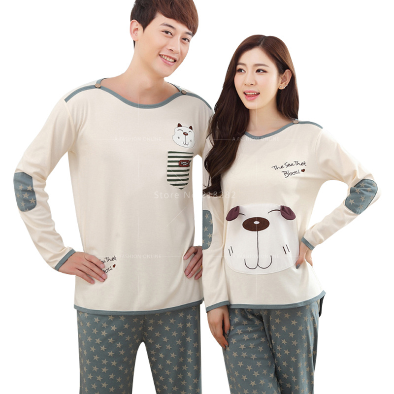 Autumn Long Sleeved Cartoon Dogs Cotton Couple Pajama Sets Women/Men Pyjamas Sleepwears Mujer  Nightgown XXL Home Clothing
