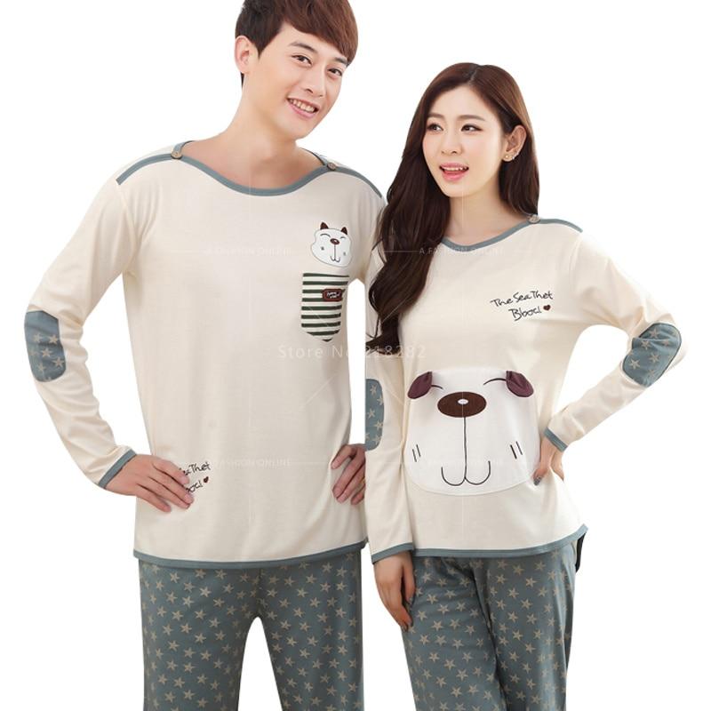 Autumn Long Sleeved Cartoon Dogs Cotton Couple Pajama Sets Women/Men Pyjamas Sleepwears Mujer  Nightgown XXL Home Clothing