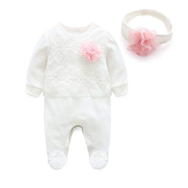 Image 3 - 2019 Princess Newborn Baby Girl Clothes Lace Flowers Footies Jumpsuit with Headband 2 Piece Girls Clothing Set  0 3 6 9 monthsRompers   -