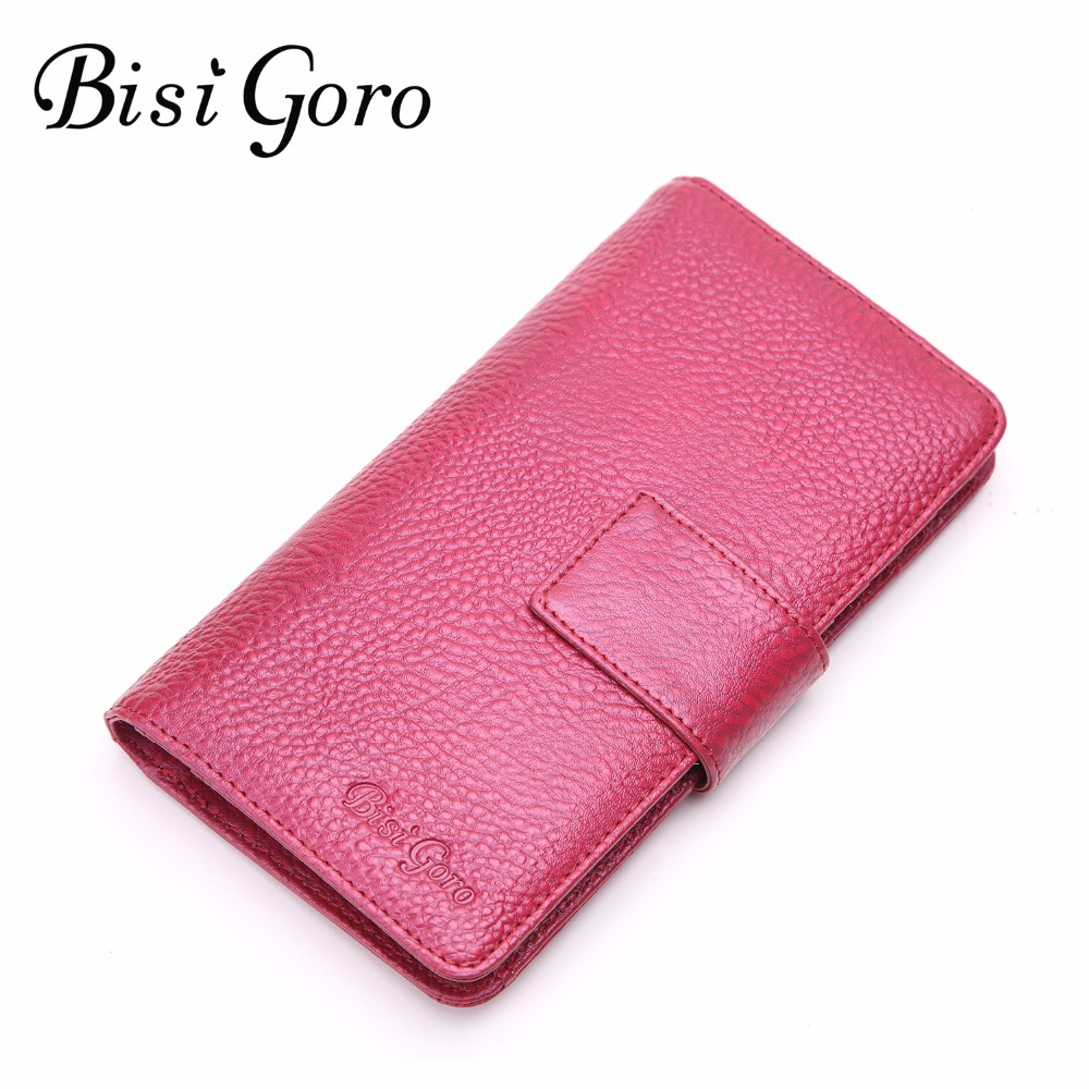 Bisi Goro New 2018 Women Wallets Cowhide Leather Long Clutch Wallet female High Capacity Coin Purse Card ID Holders Candy Color
