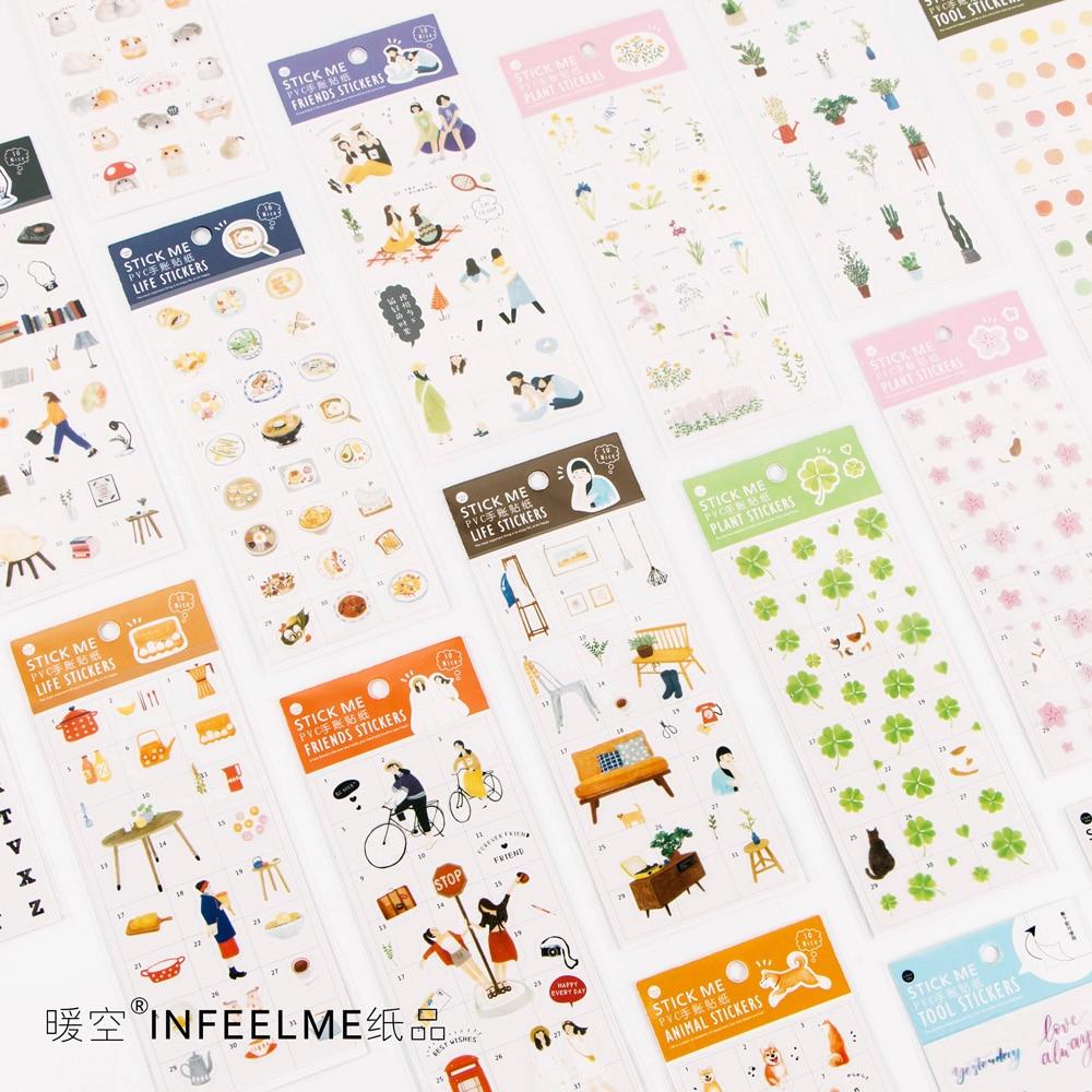 JIANWU 1pcs Cute Cat Stickers Transparent Stickers Diary Label Sticker Cartoon DIY Decorative Sticker