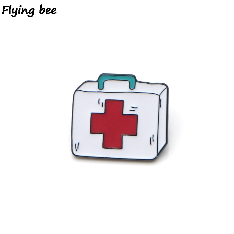 Flyingbee Grey's Anatomy First-aid Case Enamel Pin For Clothes Bags Backpack Badge Personality Brooch Shirt Lapel Pins X0180