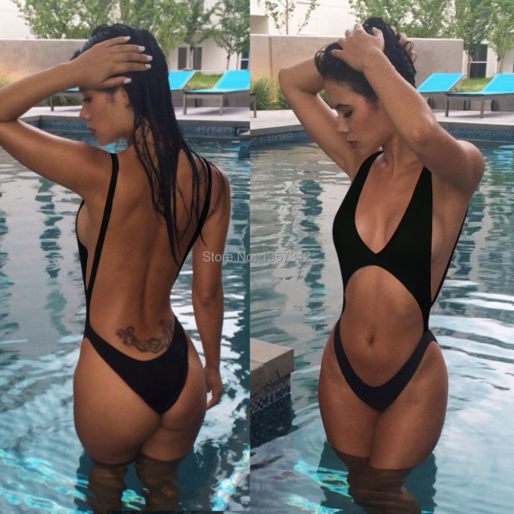 Brazilian Biquini 2015 Sexy bodysuit Deep V cut out one piece swimsuit  Backless Swimwear Women Retro Beach Bathing suit Monokini 0140c262ff9b