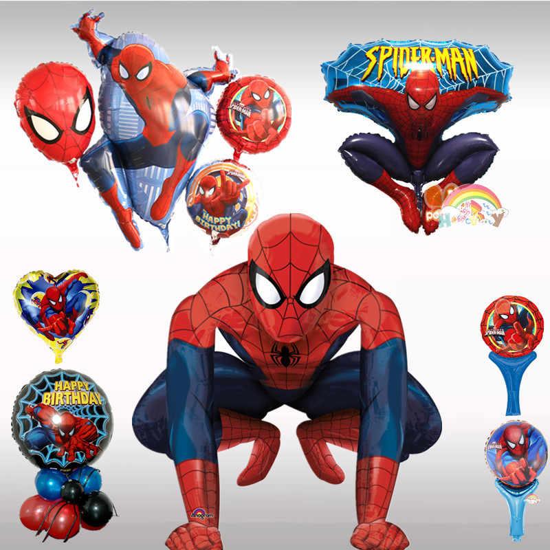 1 pcs Spiderman ฟอยล์ฮีเลียมบอลลูน Spider man Air Globos สีแดงสีฟ้า Batman Superhero Birthday Party ตกแต่งเด็กทารกเด็กของเล่น