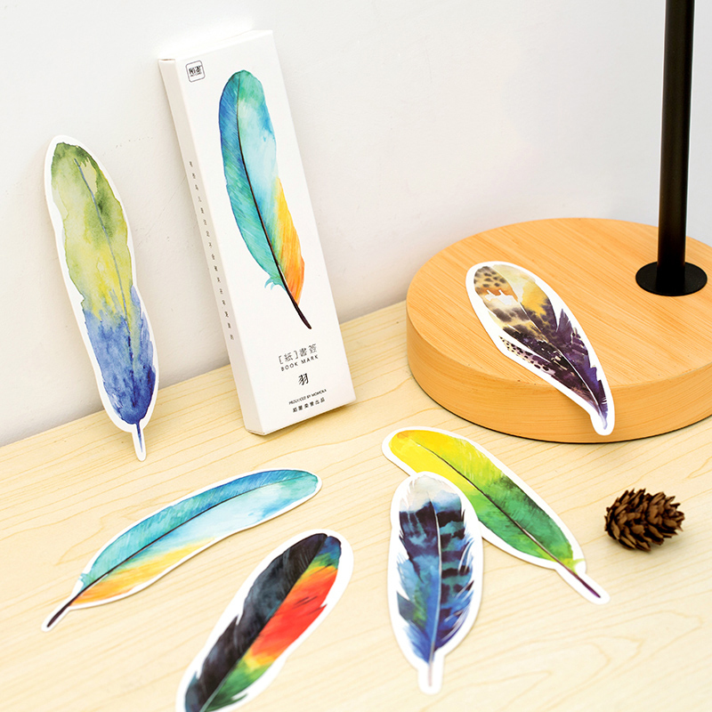 30 Pcs Pack Colorful Feather Bookmark Paper Cartoon Animals