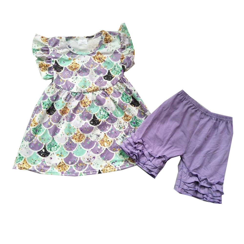 Casual Children Cute Outfits Girls Summer Flutter Sleeve Pearl Shirt Match Solid Shorts Kids BoutiqueCasual Children Cute Outfits Girls Summer Flutter Sleeve Pearl Shirt Match Solid Shorts Kids Boutique
