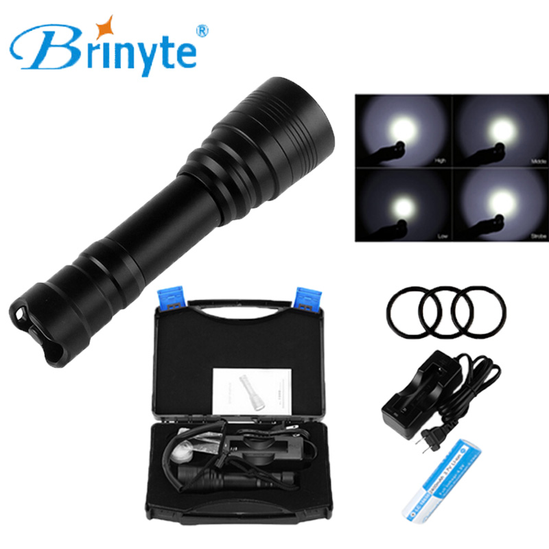 Brinyte DIV11 Technical Leisure Diver Diving Flashlight Cree XM-L2 LED Diving Flashlight Torch with 18650 Battery and Charger led tactical flashlight 501b cree xm l2 t6 torch hunting rifle light led night light lighting 18650 battery charger box