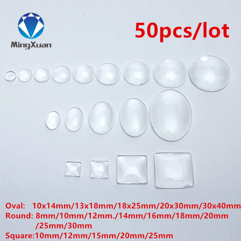 50pcs/lot 8-30mm Round/Oval/Square Flat Back Clear Glass Cabochon Transparent Glass Cabochon For DIY Fashion Jewelry Promotion