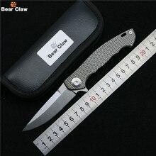 Медвежий коготь ZT0452 Flipper складной нож D2 лезвие TC4 Titanium сплав ручка открытый отдых на природе охота карманный фрукты Ножи EDC инструменты