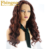 Ebingoo High Temperature Fiber Peruca Long Deep Wave Full Wigs Auburn Red Synthetic Lace Front Wig For Women With Widow Peak