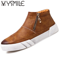 High Quality Fashion Leather Men Casual Shoes Black Thick Sole Male Flats High Top Platform Shoes