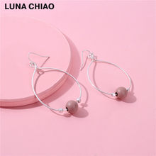 Big Water Drop Cooper Wire Lacqured Metallic Colored Wood Bead hoop Earrings for women(China)