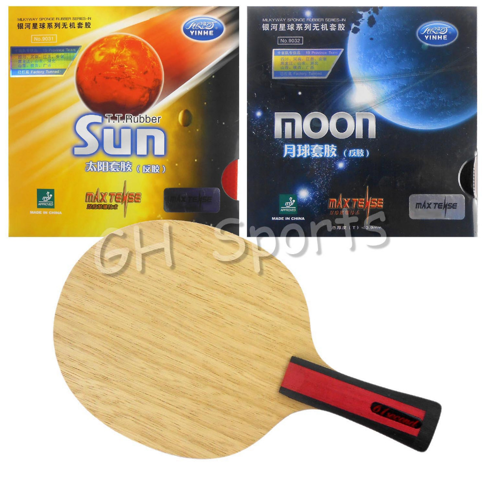 Pro Table Tennis PingPong Combo Racket 61second 3004 Shakehand with Galaxy Sun and Moon Factory Tuned  Long Shakehand FL pro table tennis pingpong combo racket galaxy yinhe mercury 13 with sun and moon factory tuned