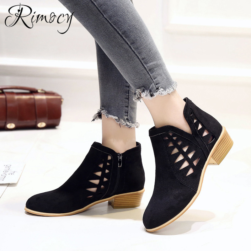 Rimocy 2019 spring hollow out single shoes woman faux suede round toe square heels pumps women 4cm med heels casual shoes femme 30