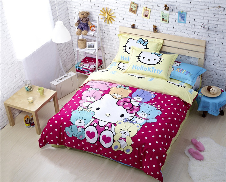 hello kitty d cartoon kids bedding set king twin queen size bedding set oil paintings girls bedroom queen sets kids twin