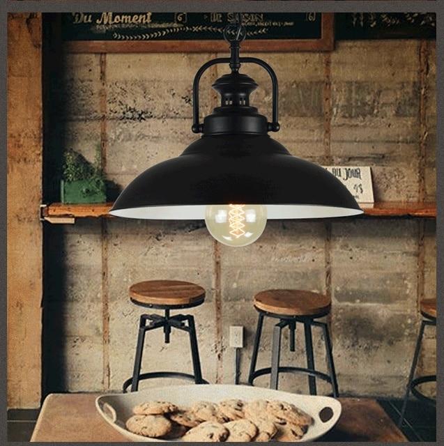 Loft Bar Black Iron American Vintage Retro Pendant Light