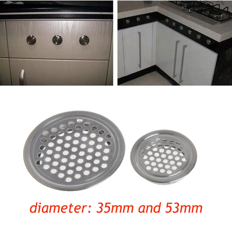1PC Stainless Steel Wardrobe Cabinet Mesh Hole Air Vent Louver Ventilation Cover Kitchen Cabinet Parts & Accessories Dia 35/53mm