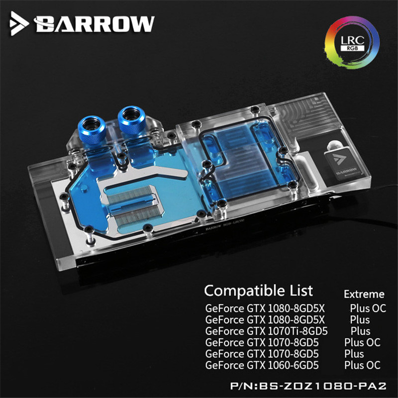 все цены на BS-ZOZ1080-PA2 Barrow Graphis Card Full Coverage water block for ZOTAC GeForce GTX 1080-8GD5X/1070Ti-8GD5/ Extreme Plus OC