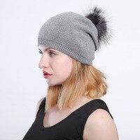כובע לשני המינים צמר סרוג כובעי חורף סתיו כובע מזדמן כובע עם פרחים על מגלשים רגיל pomponny שועל דביבון האמיתי