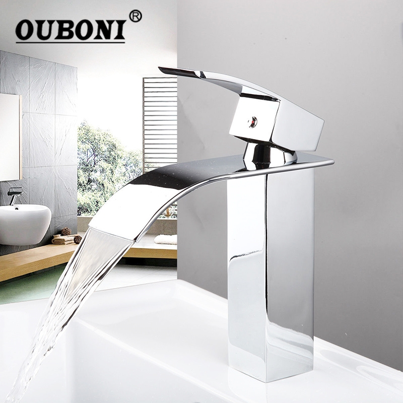 US Bathroom Faucet Ceramic Waterfall Chrome Brass Basin Sink Faucet  Lavatory Combine Set Faucet,Mixer Tap
