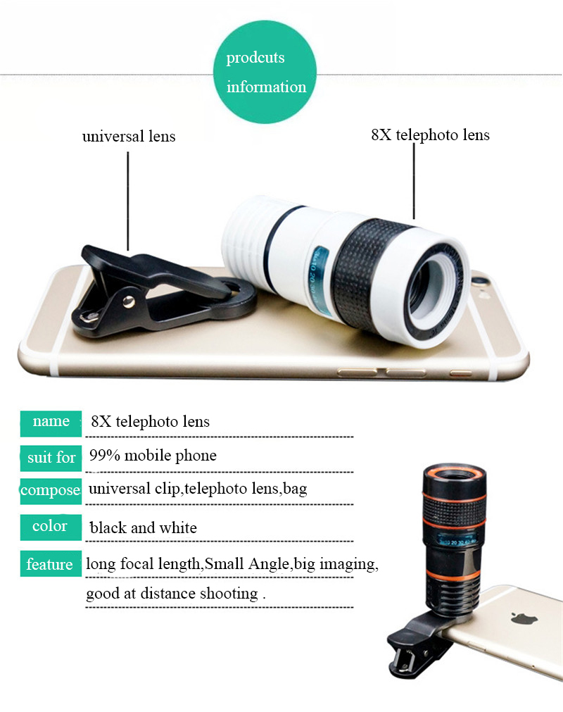 High-Definition Universal 8x telephoto telescopic camera lens For iPhone 6 6s Plus 5S SE 7 7Plus/Samsung Galaxy S6 S7 Edge Plus 2