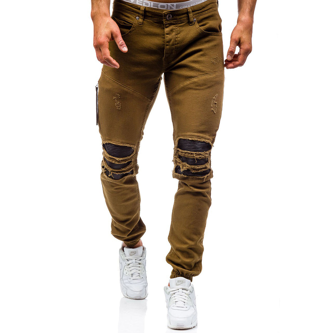 2018 New MenS Jeans Ripped Beggar Holes Pants Korean Style Elasticity Casual Trousers Cool Stretch Man Denim Pants 38