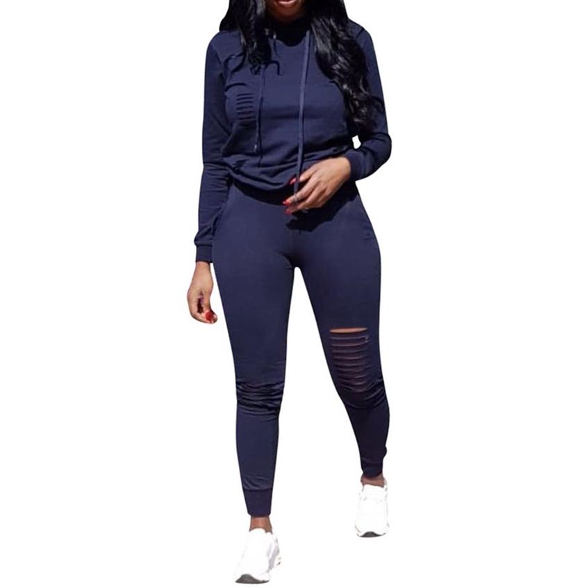 Dark Blue Hollow Out 2 Piece Set Women Autnmn Long Sleeve Hoodies Sweatshirt + Long Pencil Pants Casual Two Piece Tracksuits