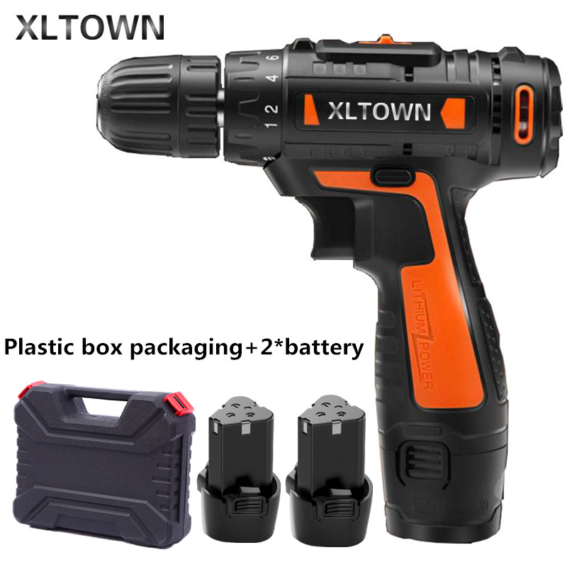Xltown12v Cordless Mini Electric Drill with 2 battery Multi-energy lithium battery Two-speed  electric screwdriver power tools footprint reading library 3000 alternative energy [book with multi rom x1 ]