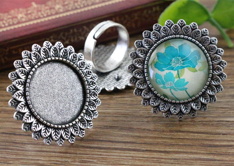 20mm 5pcs Antique Silver Plated Brass Adjustable Ring Settings Blank/Base,Fit 20mm Glass Cabochons,Buttons;Ring Bezels K3-0320mm 5pcs Antique Silver Plated Brass Adjustable Ring Settings Blank/Base,Fit 20mm Glass Cabochons,Buttons;Ring Bezels K3-03