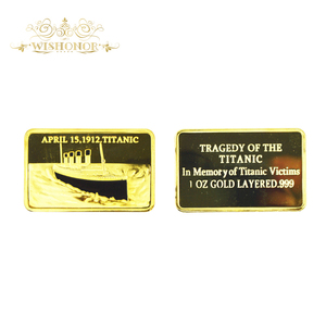 In Memory of Titanic Victims 1oz Gold Bullion Bar Commemorative Ingot Bar For Collection And Business Gift