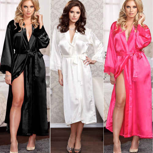 Sexy Womens Summer Silk Lace Lingerie Robe Sleepwear Dress Bandage Long  Sleeve Robe Gown Babydoll Nightwear eef84f526