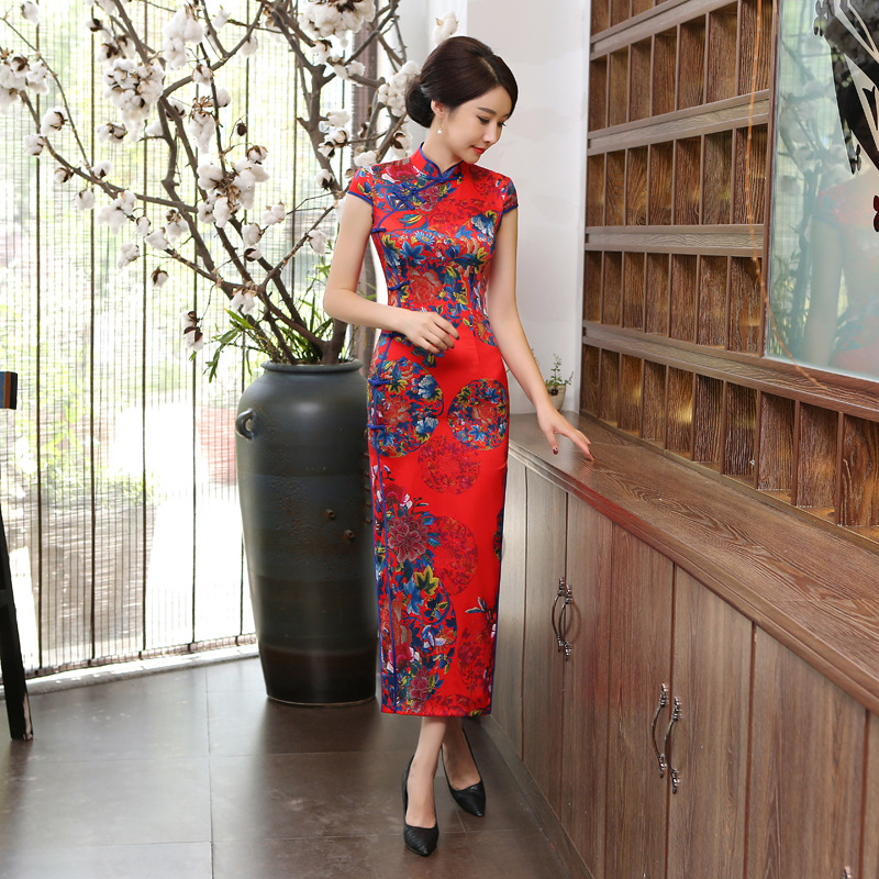 Chinese Lady Long Dress Red White Blue Women 39 s Satin Cheongsam in Cheongsams from Novelty amp Special Use