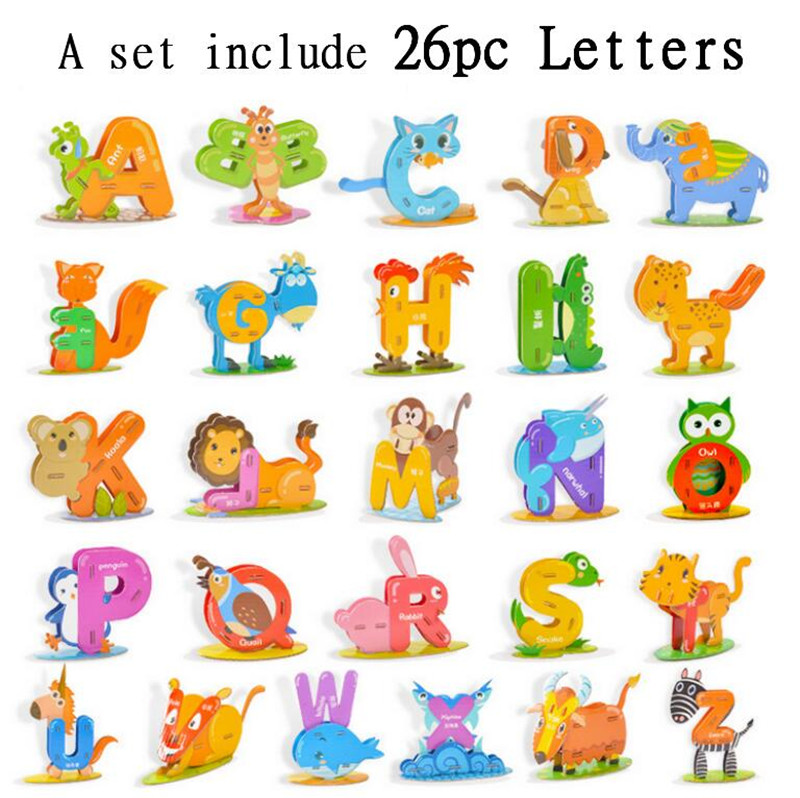 Alphabet Children Puzzle Chinese English Learning Education Jigsaw Box DIY Toys Birthday Gift In Puzzles From Hobbies On Aliexpress