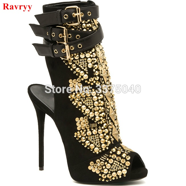 Women Gladiator shoes Rivets Summer Ankle Boots Womens Peep Toe Sandals boot High Heel Pumps ladies booties timesize women clear heel transparent boots peep toe ankle boots bootie perspex lucite summer shoes sandals block heel pumps