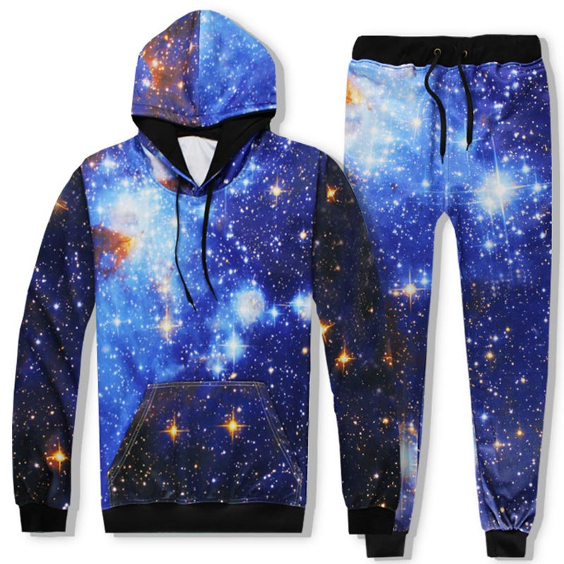 2017 Headbook Space Galaxy Hoodies Sets Men/Women 3d Sweatshirts Pant Print Stars Sky Fashion Hooded Hoodies