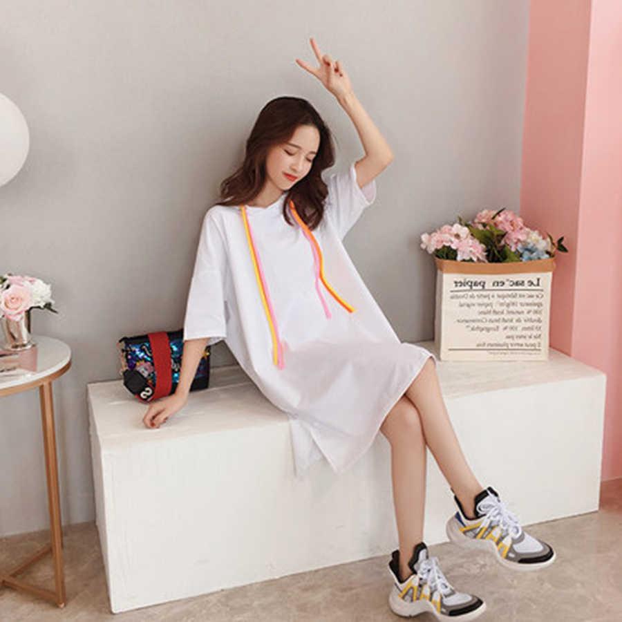 طويل تي شيرت المرأة الصيف القطن Ulzzang الكورية نمط المتضخم T قميص المتناثرة Kawaii الشارع الشهير زائد حجم النساء الملابس 5H30